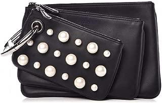 Women's Black Leather Pearl Studded Triplette Multi Clutch Handbag 8BS001