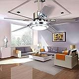 Ventiladores de techo modernos sustitución de la cuchilla de acero inoxidable 5 LED remoto de la lámpara 3 LED (/ caliente blanco / amarillo) para ruido del ventilador interior (48 pulgadas), Modern