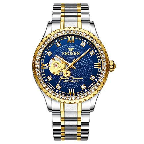 Relojes para Hombre Reloj de Pulsera mecánico de Pulsera de Cuero con Esfera de Acero Inoxidable analógico a Prueba de Agua a la Moda -D