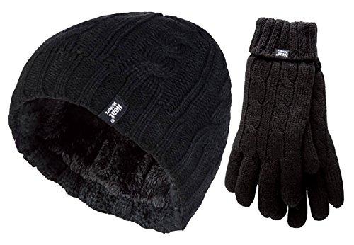 Heat Holders - Damen Thermo-Winter-Outdoor-Fleece-Isolierte Mütze und Handschuhe Set in 7 Farben Gr. M-L, Schwarz