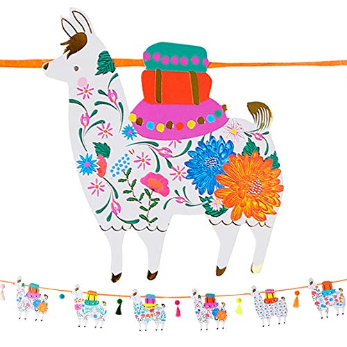 Talking Tables Llama Shaped Garland Bunting with Tassels-3m | Boho Party Decorations for Birthday, Fiesta, Mexican Cinco de Mayo Celebration, Kids Bedroom