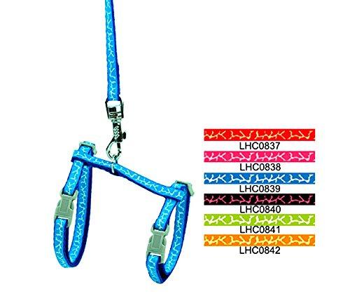 smalllee_Lucky_Store Haustiergeschirr mit Leine, verstellbar, für Kaninchen/Katzen/Kätzchen, Halsband verstellbar Kleine Hunde Walking Leine, Giraffenfellmuster
