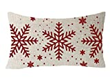 FELENIW Happy Winter Red Snowflakes Blessing Gift Cotton Linen Decorative Throw Pillow Cover Cushion Case 12x20 inches