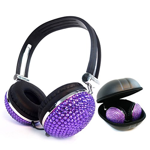 Kasstino Beautiful and Lovely Bling Style Crystal Handmade Diamante Retro Ear-Cup Headphones Headsets for Girls Women (Purple)