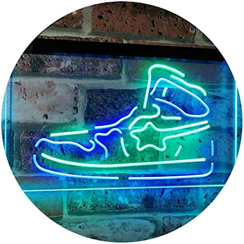 ADVPRO Turnschuhe schuhe Sport Running Store Shop Display Dual Farbe LED Barlicht Neonlicht Lichtwerbung Neon Sign Grün & Blau 400mm x 300mm st6s43-i3071-gb