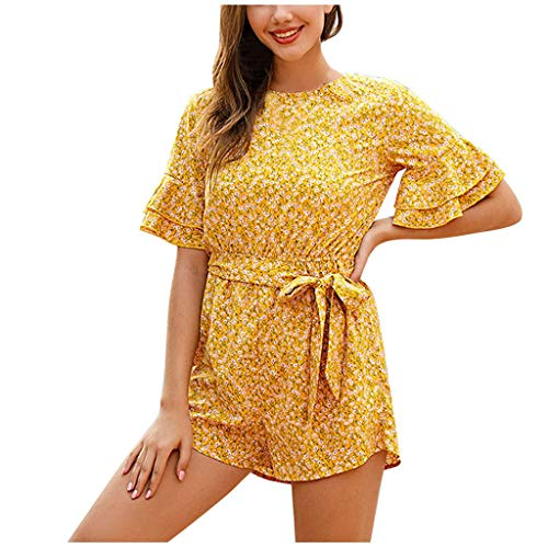 Best Review Of Toimothcn Women Shorts Jumpsuit Casual Dot Printed Lace-Up Short-Sleeve Ruffle Shorts...