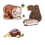 Combo di prodotti artigianali 1 x Tronchetto di Porchetta c.a. 2 kg + 1 x Guanciale al Pepe c.a. 1,5 kg + 1 x Stinco di porchetta x 750g