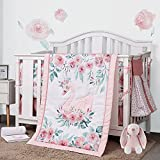 Pink Crib Sets for Baby Girls, Swan Crib Bedding Set by Sweet Baba, 5 PC Nursery Crib Set Includes Quilt/Fitted Sheet/Crib Skirt/Diaper Stacker/Blanket(Flower Theme)