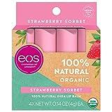 eos USDA Organic Lip Balm - Strawberry Sorbet Lip Care to Nourish Dry...