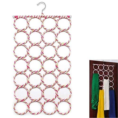 Handig Opslag Houder for Rattan Weave Sjaal Weergave Organizer 28 Holes Sjaals Hangers handdoek Rekken Ring Rope Scarf Holder Hook