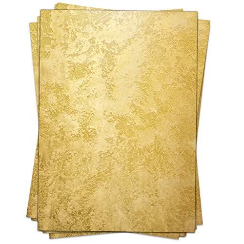 Briefpapier Design-Motiv GOLD-WAND - 50 Blatt, DIN A4 Format - Bastel-Papier beidseitig bedruckt Set edel schick