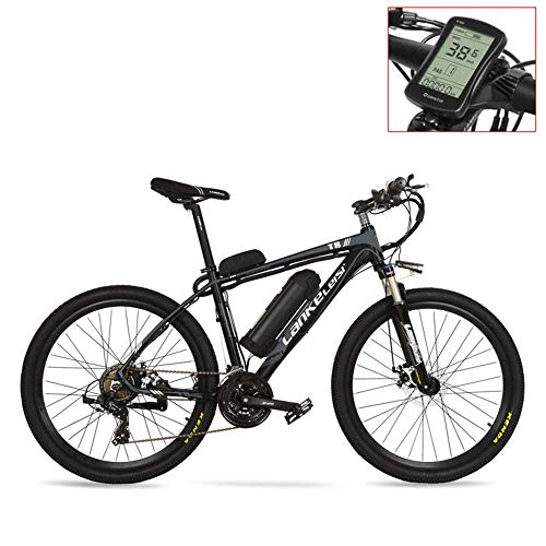 TYT Elektrisches Mountainbike T8 36V 240W Starkes Pedal Assist Elektrofahrrad, Hohe Qualität Amp; Mode Mtb Elektro Mountainbike, Adopt Suspension Fork.Pedelec. (Blaue Led, 20 Ah),Graues Lcd