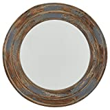 Amazon Brand – Stone & Beam Round Distressed Rustic Wood Hanging Wall Mirror Decor, 23.4 Inch Height, Antiqued Finish