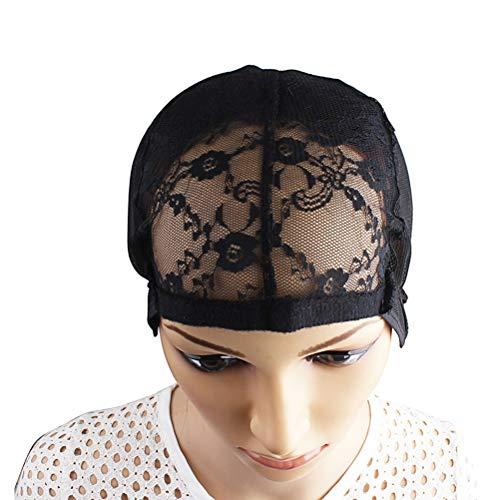 LIOOBO Chapeaux de Perruque en Dentelle pour la Confection de Perruques et de Tissage de Cheveux Bonnet Ajustable en Stretch (Noir)