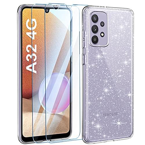 AROYI Cover Compatibile con Samsung Galaxy A32 4G Custodia Glitter Flessibile TPU Silicone Liquid Crystal Custodia Case con 2 Pezzi di Vetro Temperato Incluso