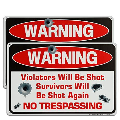 "HISVISION Gun Sign, No Trespassing Sign, Violators Will Be Shot Survivors Will Be Shot Again, 12""X 8"" Metal Sign NoTrespassing Sign Rust Free Aluminum UV Protected & Waterproof"