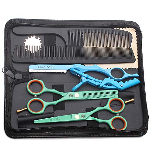 Purple Dragon 14 cm Haarscheren-Set mit Rasierer, Titan-Profi-Haarschneider, Friseurschere, Effilierschere, Haarschere für professionelle Friseure oder zu Hause