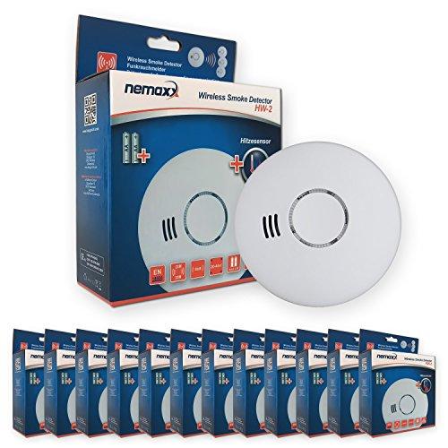 12x Nemaxx HW-2 Funkrauchmelder Rauchmelder Hitzemelder mit kombiniertem Rauch- und Thermosensor nach DIN EN 14604 - Weiss
