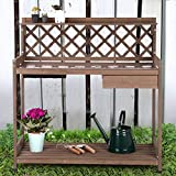 Morgete Potting Bench Garden Table for Plants Outside Outdoor Wooden Garden Work Bench with Sink Storage PVC Layer Drawer Shelf Hook for Gardening