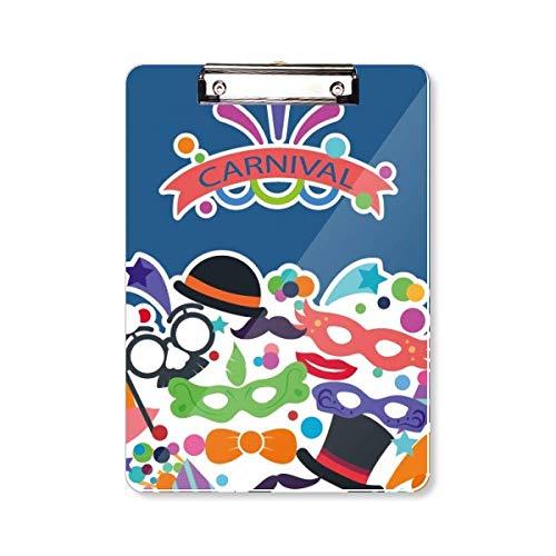 Glazen Hoed Masker Gelukkig Carnaval van Venetië Clipboard Folder Schrijven Pad Achterplaat A4