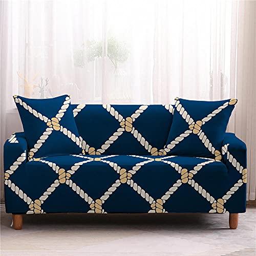 Fundas Sofas 3 y 2 Plazas Ajustables Azul Crema Fundas para Sofa Ajustables Funda Sillon Spandex Lavables Cubre Sofas Chaise Longue Modernas Funda Sofá Universal Fundas de Sofa Espesas