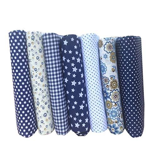 """Tendycoco 7 peças feitas à mão, tecido de algodão tipo """"faça você mesmo"""", tecido de flor azul escura, tecido têxtil, patchwork para costura, bolsas de patchwork"""