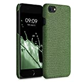kwmobile Carcasa Protectora Compatible con Apple iPhone 7/8 / SE (2020) - Funda Trasera Dura Forrada en Tela - Verde