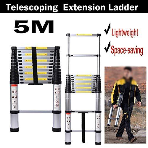 5M/16,4ft Aluminium Telescopische Ladder Uitbreiding Inklapbare Ladders Max Lading 150kg/330lb voor Thuis/Bouwonderhoud, Wassen Raam, Exterieur/Interieur Decoreren, Schilderen dljyy