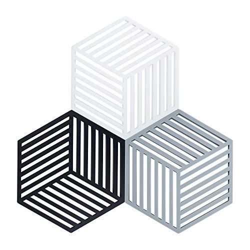 Coomazy 3pcs Untersetzer für Heiße Töpfe und Pfannen, Sillicone Topf Inhaber Pads auch für Küche Löffel Sich ausruhen Matte (Hexagon-Stripe: 160x138x8mm, SchwarzGrauWeiß)