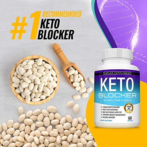 Keto Blocker Pills White Kidney Bean Extract - 1200 mg Natural Ketosis, Support Keto Diet, for Men Women, 60 Capsules, Toplux Supplement 3