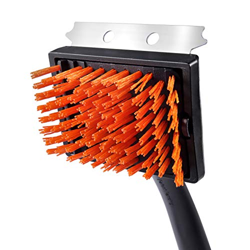 Unicook Grill Brush for Gas Grill, Heavy Duty Nylon BBQ Grill Cleaning Brush, Removable Head for Easy Cleaning and Replacement, Best Alternative to Dangerous Wire Brush, Do Not Use on Hot/Warm Surface
