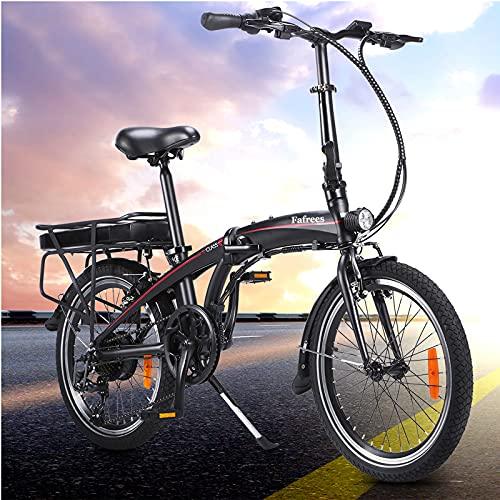 Nero Bicicletta Elettrica Pieghevole per Adulti, Cambio Shimano 7 velocit E-Bike para Adultos Con Batteria Rimovibile Da 10 Ah Bicicletta Per Adulti E Adolescenti Carico massimo: 120 kg