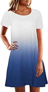 CCOOfhhc Women's Dresses Crew Neck Short Sleeve Summer Tunic Dress Casual Loose Fitting A-Line Gradient Mini Dresses