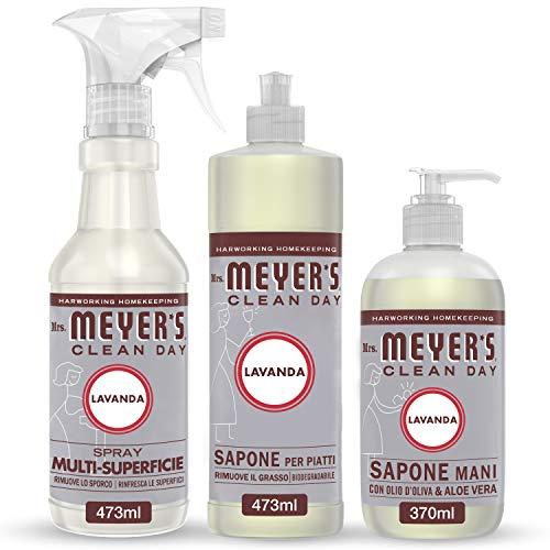 Mrs Meyer's Clean Day - 1 Detersivo Piatti + 1 Spray Multisuperficie + 1 Sapone Mani - Fragranza Lavanda - Prodotti creati con Oli essenziali - 2 x 473 ml + 1 x 370 ml - Set Cucina