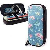 Fleurs roses sur bleu mignon stylo étui à crayons en cuir grande capacité Double fermetures à glissière crayon pochette sac...
