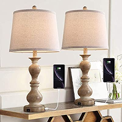 """Farmhouse Table Lamp Set of 2, 26"""" Resin Bedside Nightstand Light with 2 USB Ports, Rustic Bedside Lamp for Bedroom Living Room Office, 2 Pack (Antique Beige Base, Beige Shade)"""