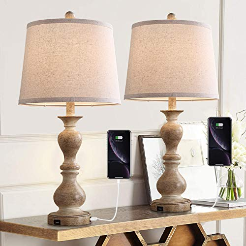 Farmhouse Table Lamp Set of 2, 26' Resin Bedside Nightstand Light with 2 USB Ports, Rustic Bedside...