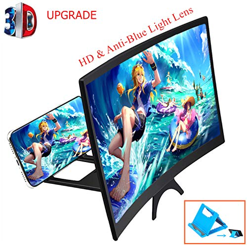 Curved 3D Phone Screen Amplifier & Phone Holder Stand,12' HD Blue Light Blocking Lens, Cell Phone...