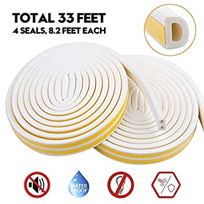 Weather Stripping for Door,Insulation Weatherproof Doors and Windows Soundproofing Seal Strip,Collision Avoidance Rubber Self-Adhesive Weatherstrip,2 Pack,Total 33Feet Long (White)