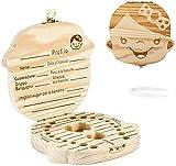 Denti Salva Box per Bambini, DEAROPE Scatola Porta Dentini da Latte, Bambini in legno Ricordo regalo, Accumulazione dei denti (Ragazza Italiana)