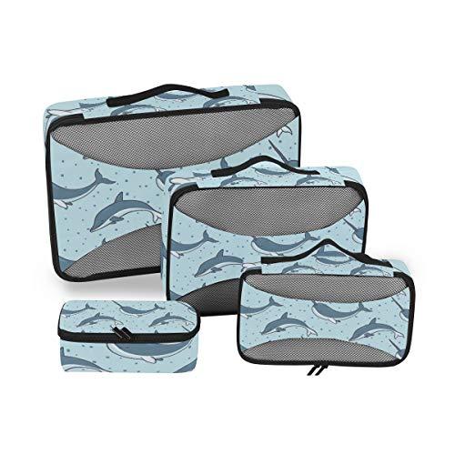 QMIN - Juego de 4 Cubos de Embalaje de Viaje con diseño de Delfines de Animales del océano, Bolsa organizadora de Equipaje de Malla, Bolsa de Almacenamiento para Maletas de Viaje