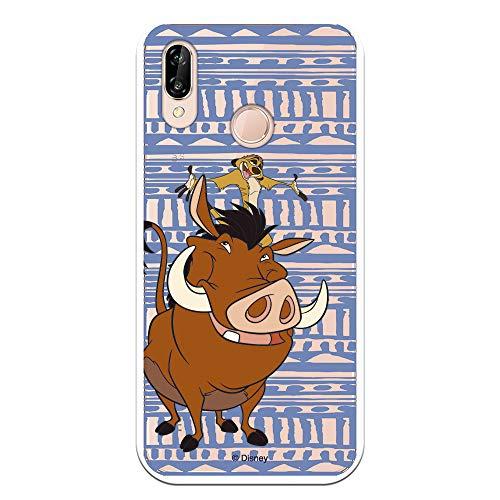 Funda para Huawei P20 Lite Oficial de El Rey León Timón y Pumba Silueta para Proteger tu móvil. Carcasa para Huawei de Silicona Flexible con Licencia Oficial de Disney.