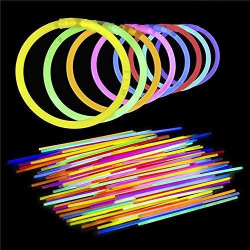 CLICSON Glow Stick Fluo Dj, Braccialetti Luminosi Fluorescenti Party Multicolor Starlight per Feste. bracciali Fluorescenti Lunghezza 20cm (50 Pezzi) con Pezzi di Fissaggio Inclusi.