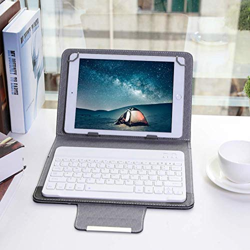 Tastatur Hülle + Wireless Bluetooth Tastatur Combo, Standfunktion Ultradünn Tastatur Schutzhülle Universal Kompatibel, Drahtloser QWERTY Android Tablet Tastatur für Galaxy tab A, S2 T810 (10 Zoll)