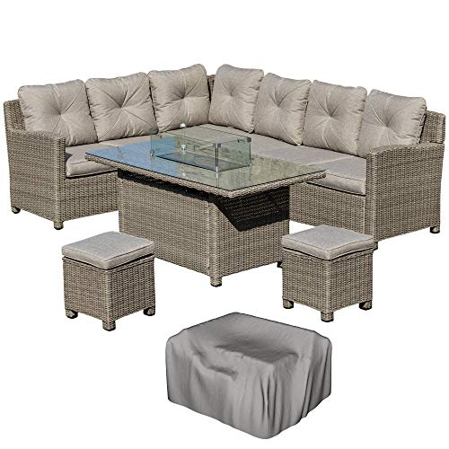 Outsunny 5 Pieces Outdoor PE Rattan Patio Furniture Set L-Shape Sofa Footstool Fire Pit Coffee Table Conversation Set with Olefin Cushion