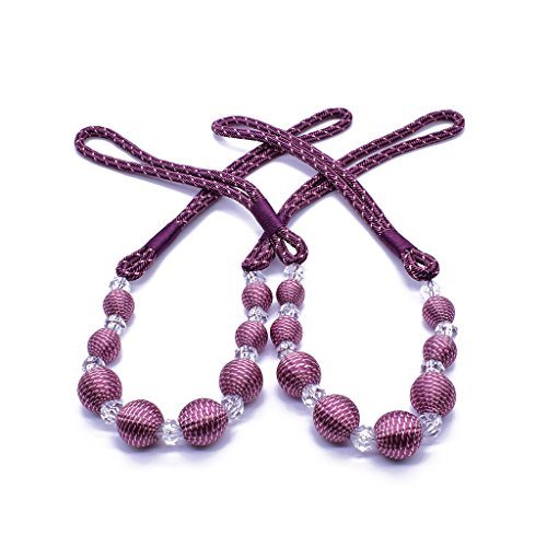 HanLingGG 2 Pieces Curtain Rope Tiebacks Stylish Beaded Drape Curtain Holdbacks Vintage Style Window Drapery Tie Backs - Purple