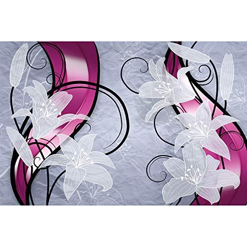 GREAT ART Fotomurale – Fiori – Immagine Murale Decorazione da Parete Giglio Bianco Grafica Viticci Germoglio Petali Candido Serra di Gigli Moderno Astratto Carta da Parati 210 x 140 cm