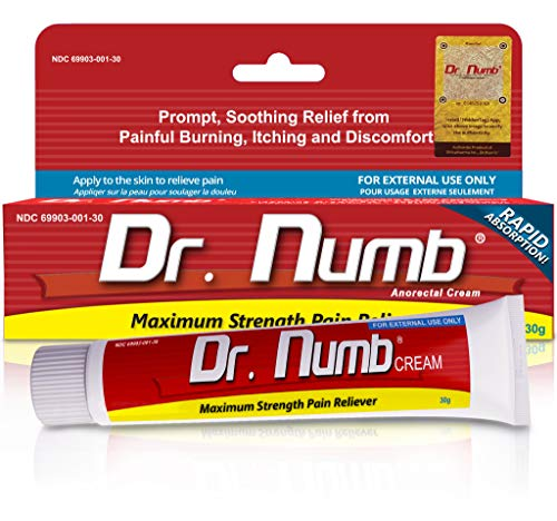 Dr. Numb 5% Lidocaine Topical Numbing Cream for Pain Relief, 30g Max Strength Pain Relief Anesthetic Cream with Vitamin E for Local, Anorectal and Hemorrhoid discomfort (1)