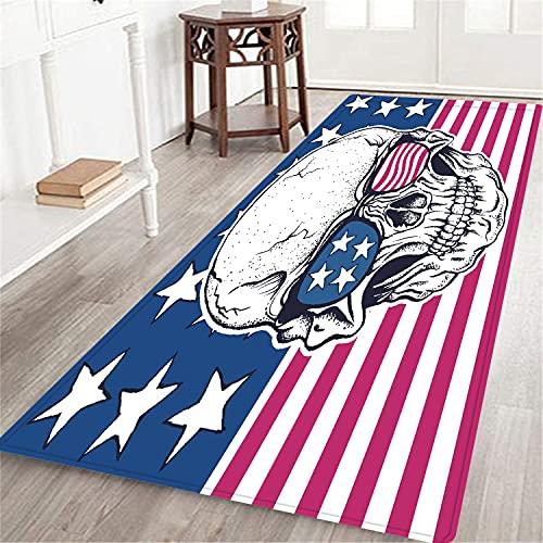PATINISA Alfombra Larga Decorativa de Lujo Gafas de Sol de Calavera Americana en la Bandera de EE. UU. alfombras Extra Suaves y cómodas para Dormitorio,Sala de Estar,niñas,niños,guardería