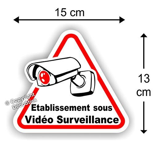 Sticker Autocollant Etablissement sous Vidéo Surveillance 15 cm